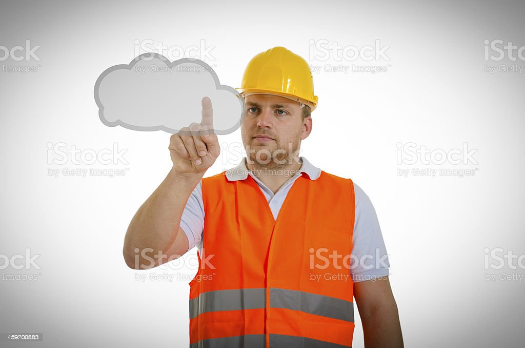 Construction worker touching virtual cloud royalty-free stock photo