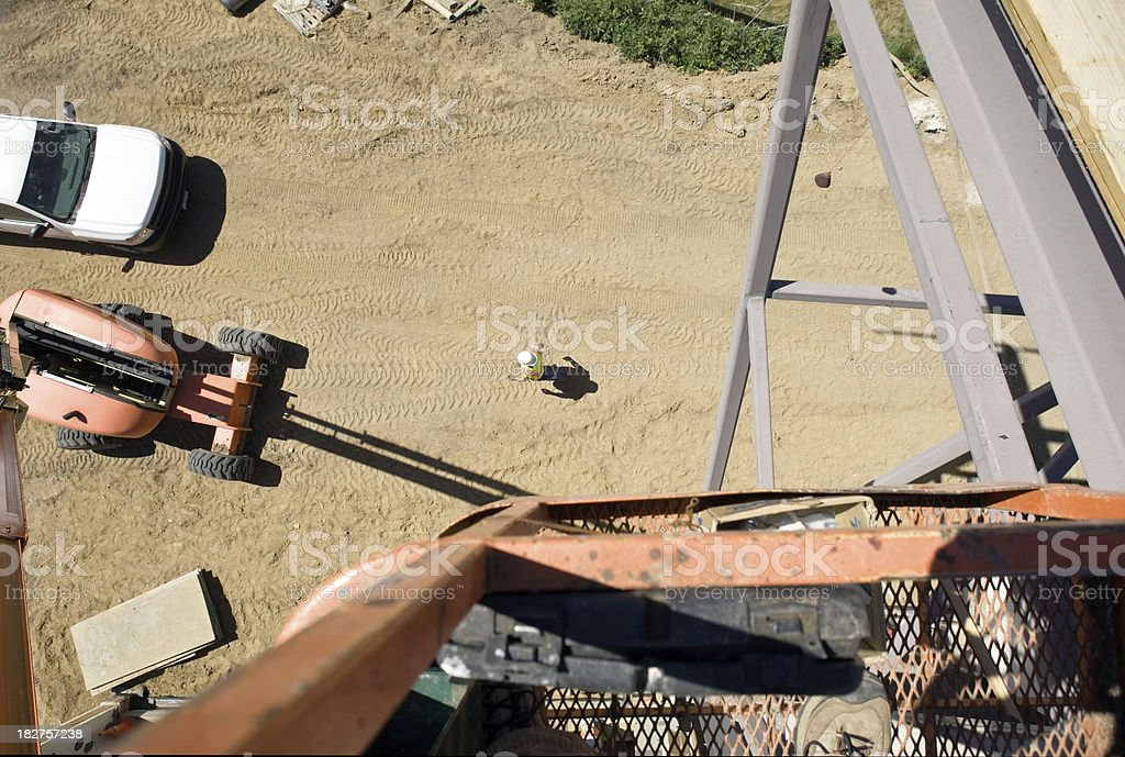 Construction Worker, Truck and Frame from above on Job Site stock photo