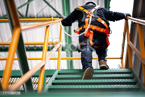 istock Construction worker wearing safety harness 1171265123