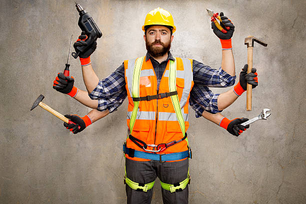 Construction Worker with 6 Arms Construction worker with 6 arms holding tools. medium group of objects stock pictures, royalty-free photos & images