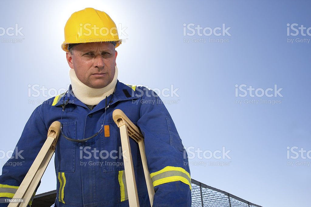 Construction Worker with an Injury stock photo