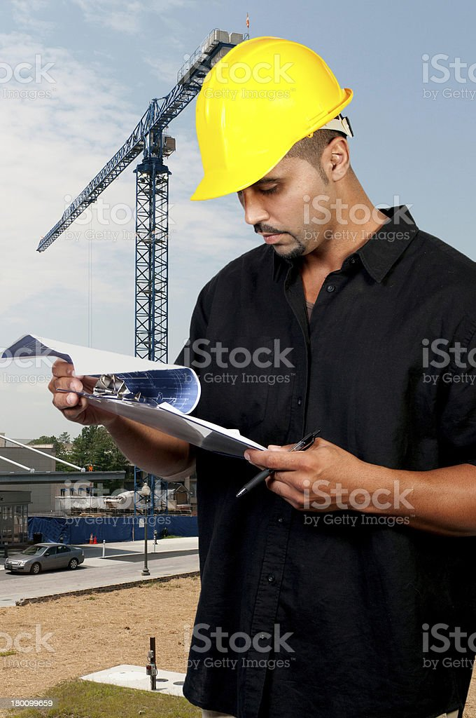 Construction Worker with Clipboard royalty-free stock photo