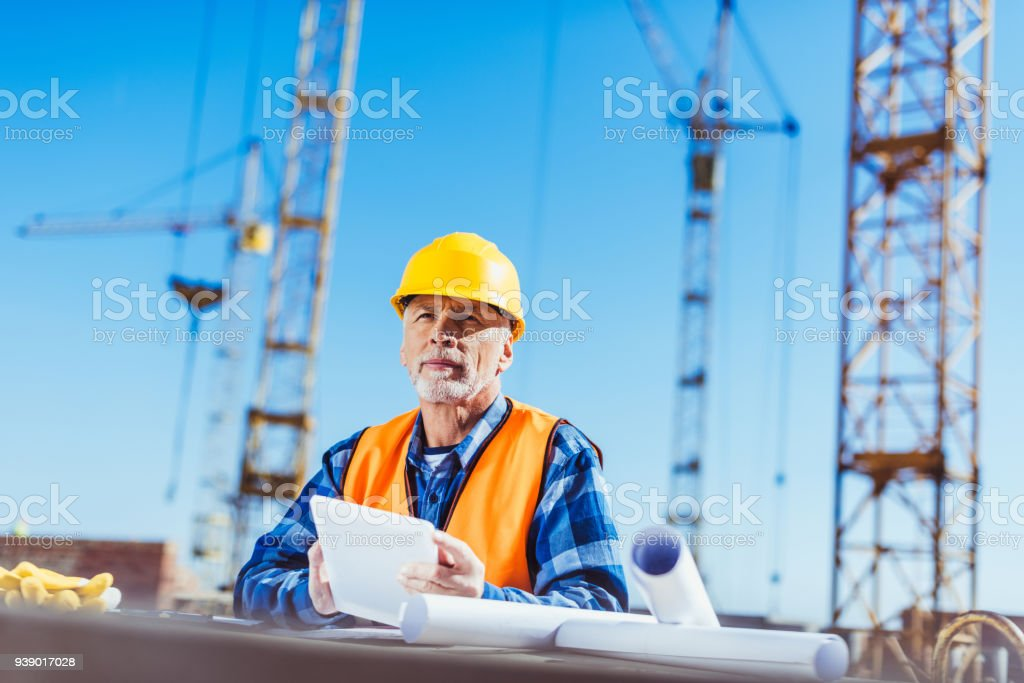 construction worker with digital tablet royalty-free stock photo
