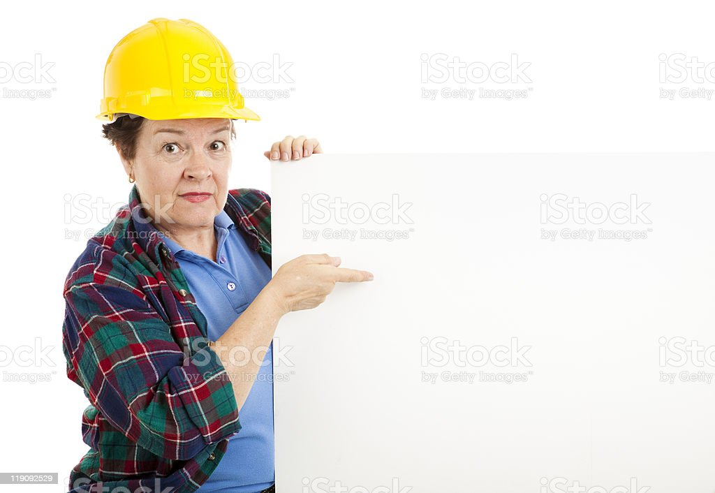 Construction Worker with Message royalty-free stock photo