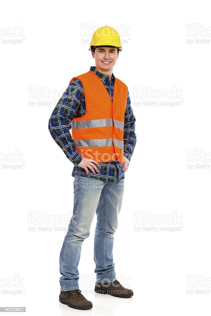 Lächeln Bauarbeiter auf Sie warten. – Foto