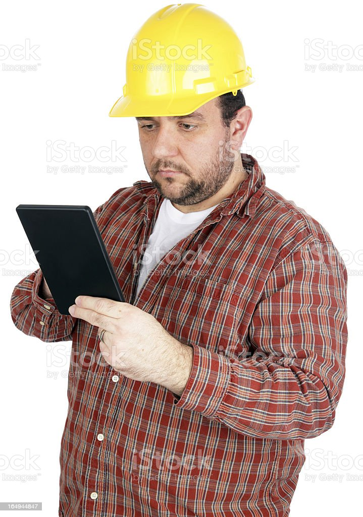 Construction Worker with Tablet royalty-free stock photo