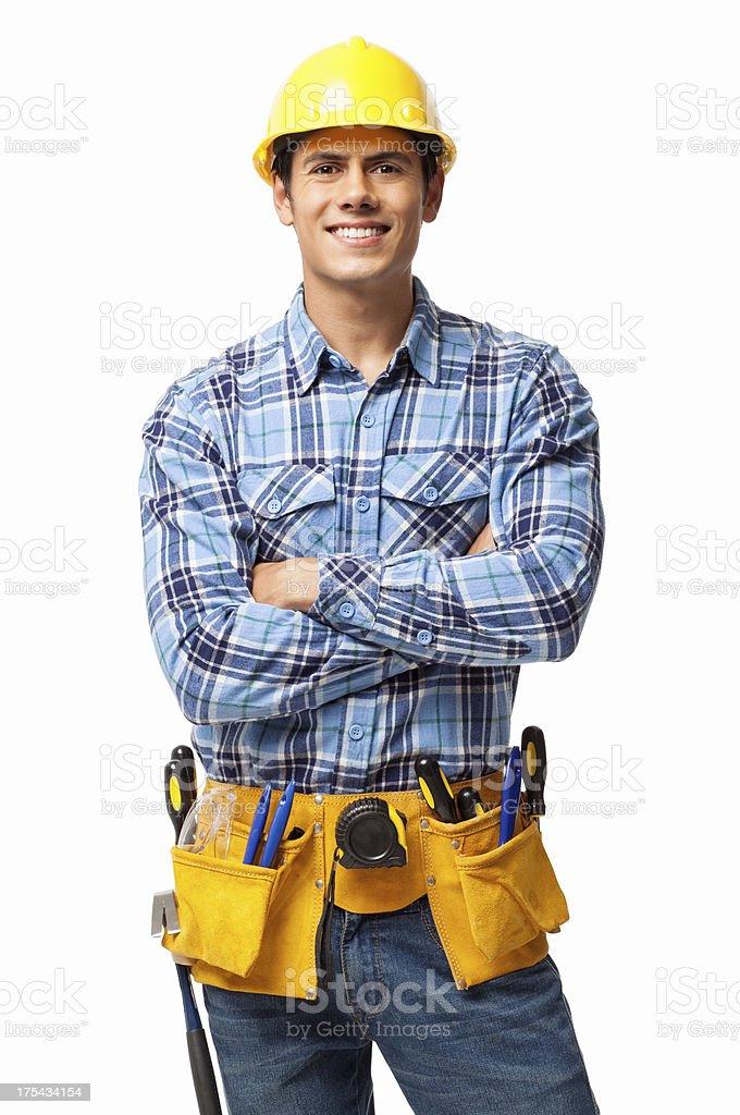 Bauarbeiter mit Werkzeuggürtel-isoliert – Foto
