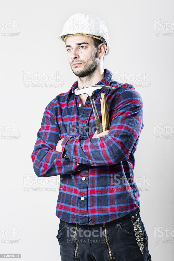 construction worker with tool stock photo