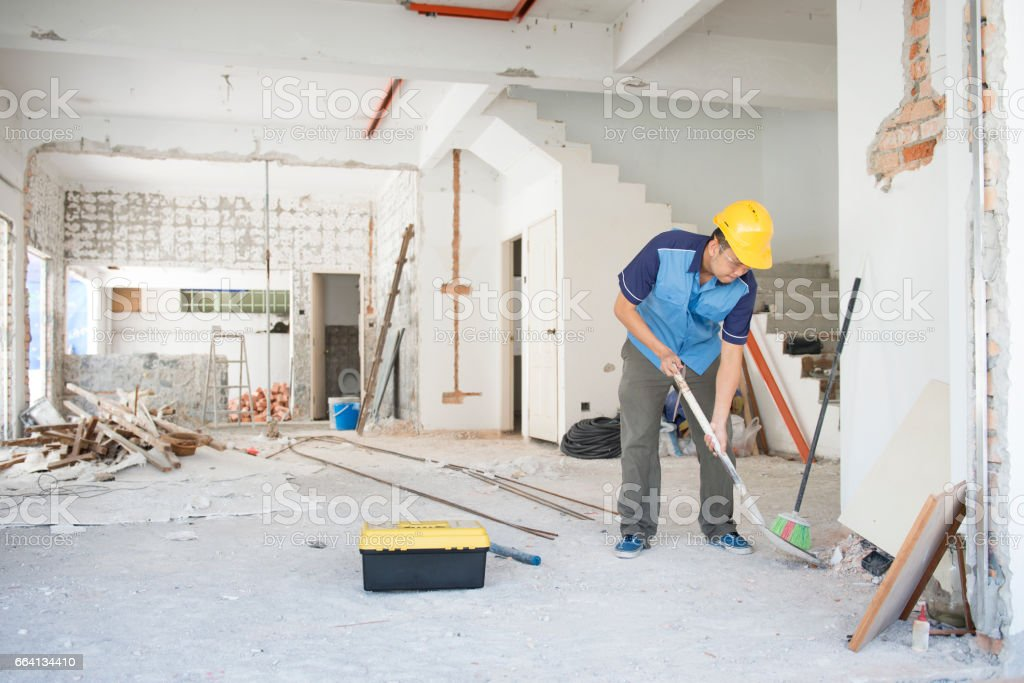 Construction worker working at site foto stock royalty-free