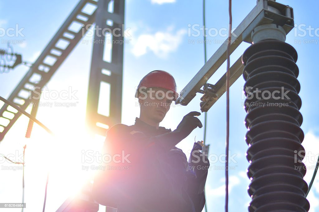 Construction Worker Working in Hight with Protective Equipment stock photo