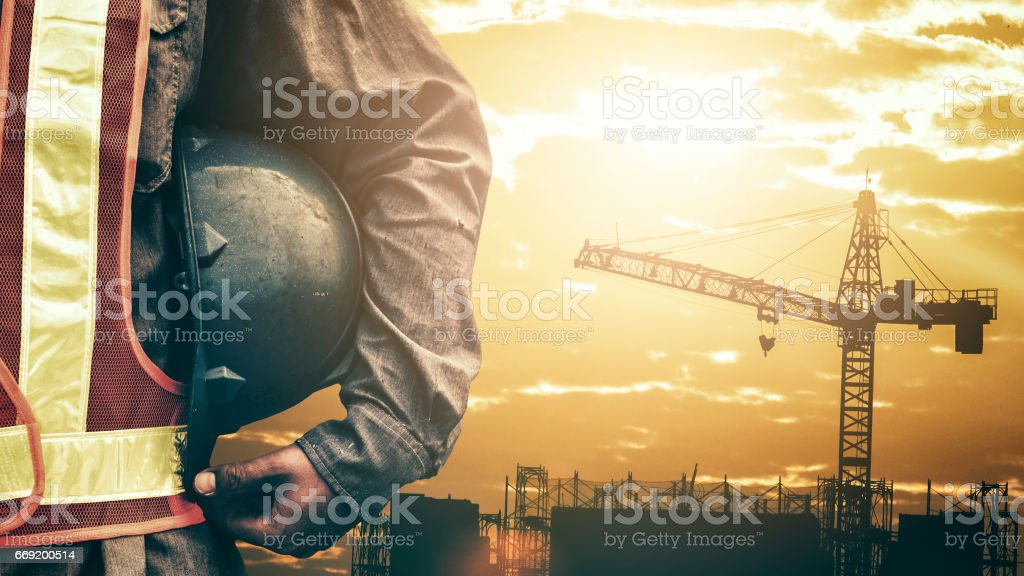 Construction worker working on a construction site ストックフォト