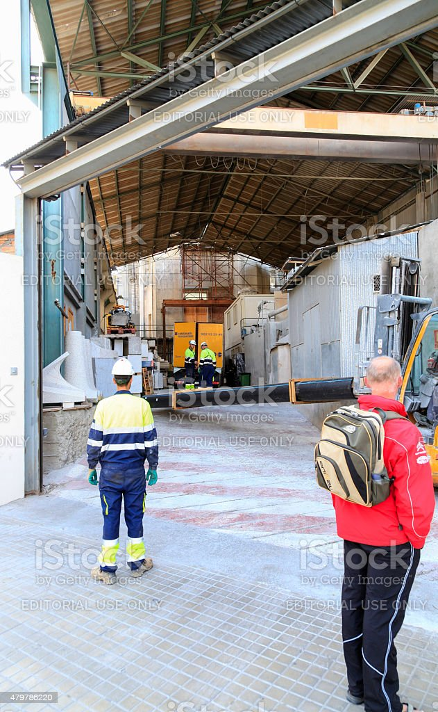 Construction workers at La Sagrada Familia royalty-free stock photo