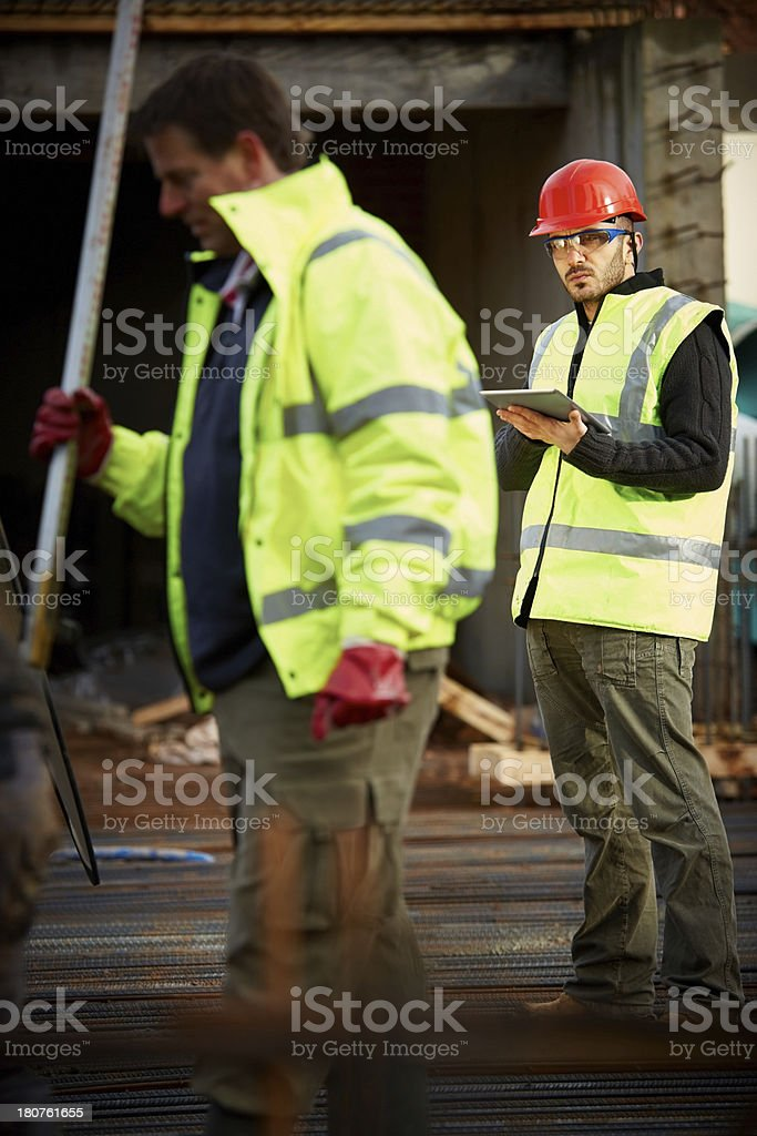 Construction workers at work royalty-free stock photo