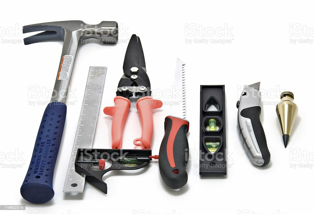 Construction Worker's Hand Tools - Isolated on White stock photo