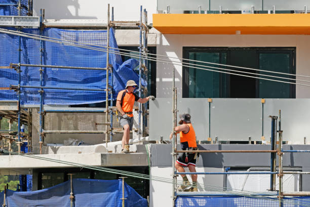 Construction Workers on site at 47 Beane St. Gosford. March, 2019. Building update 205 stock photo