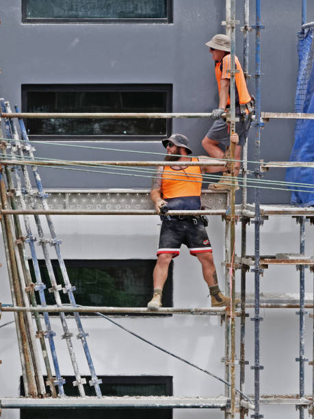 Construction Workers on site at 47 Beane St. Gosford. March, 2019. Building update 210. stock photo