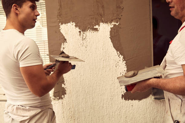 Construction workers plaster a wall. stock photo