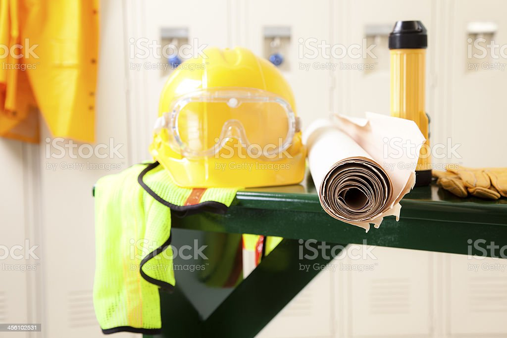 Construction: Worker's safety equipment in locker room. stock photo