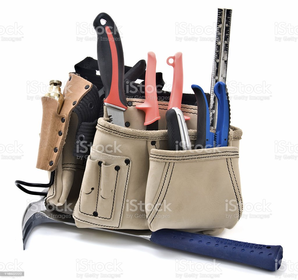 Construction Worker's Tool Belt with Hand Tools,  Isolated on White stock photo