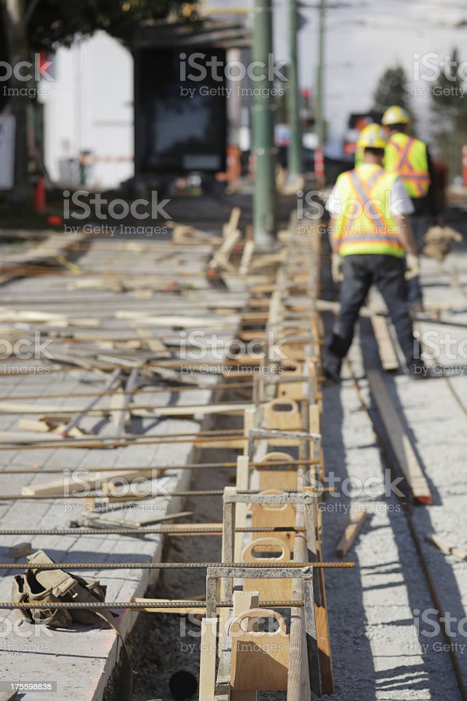 Construction workers working on a building stock photo