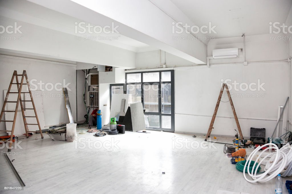 Construction works for the renovation of an office space and installing air conditioning. stock photo