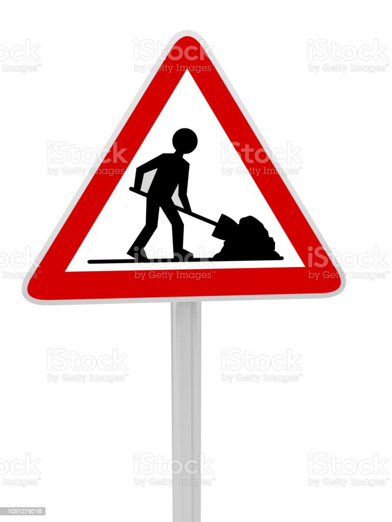 construction works road sign panel - foto stock
