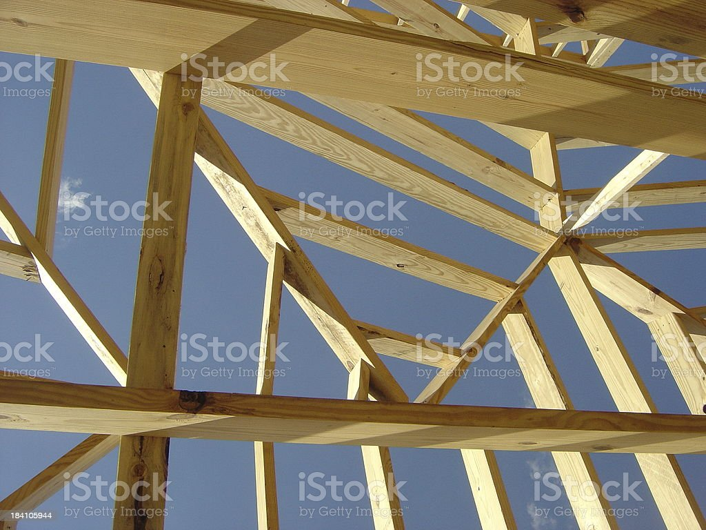 Constructiong Work And Frame Of A New House royalty-free stock photo