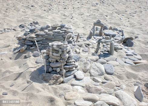 Constructions from stones on lake Baikal, Russia