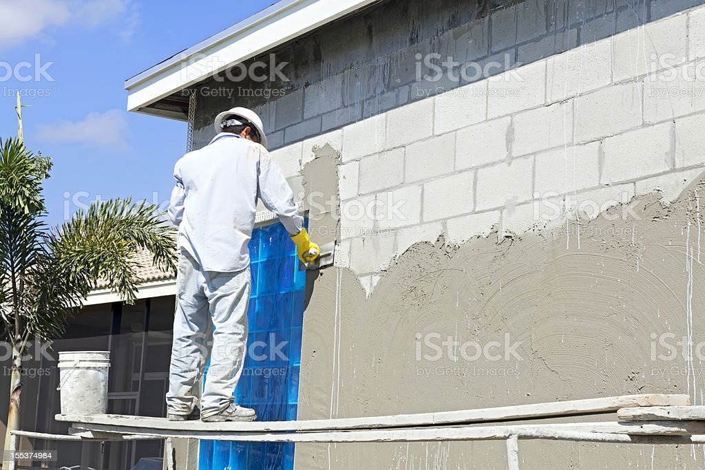 Construction:Stucco contractor royalty-free stock photo