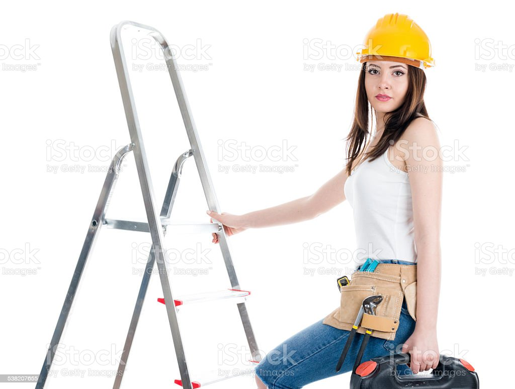 Constructor Woman With Toolbox Climbing On The Ladder Stock Photo ... for Worker Climbing Ladder  181plt