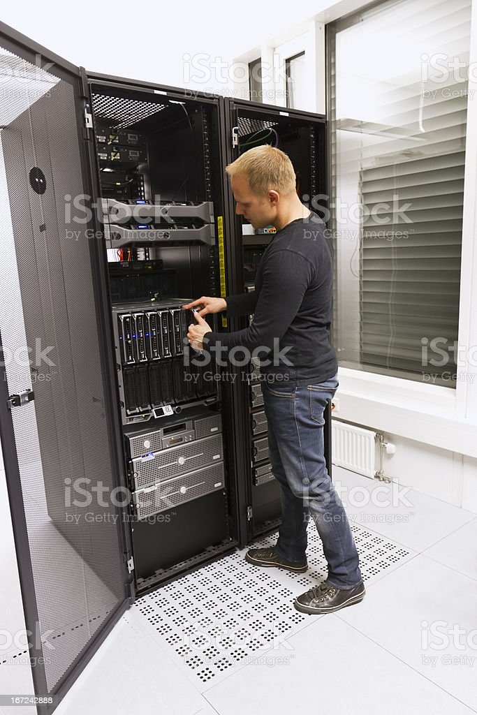 IT Consultant Install Blade Server royalty-free stock photo