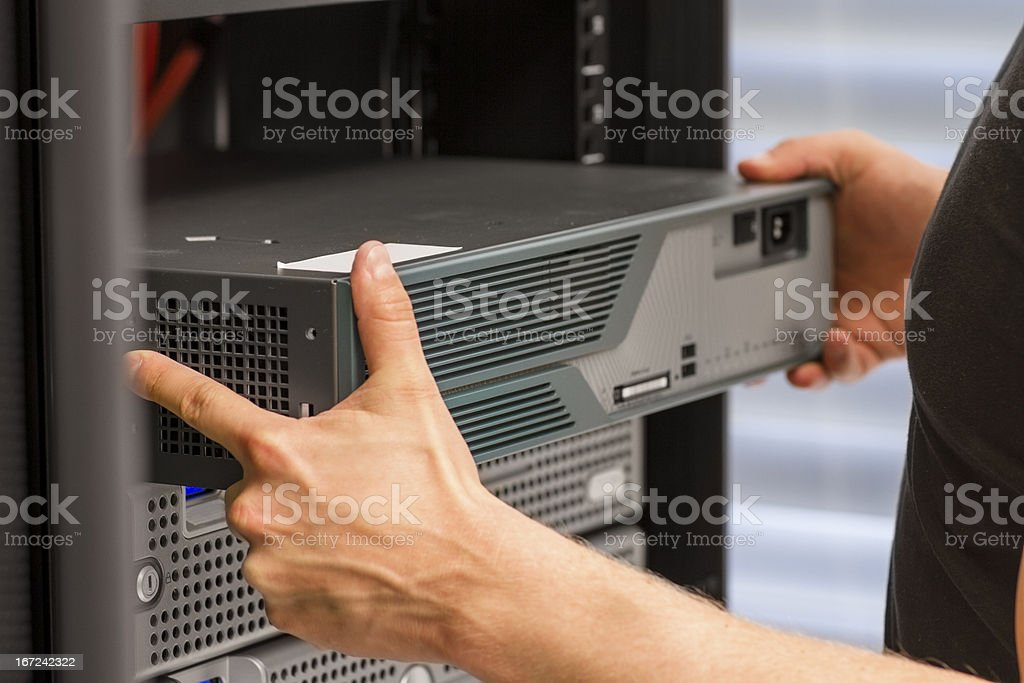 IT Consultant Install Network Router royalty-free stock photo