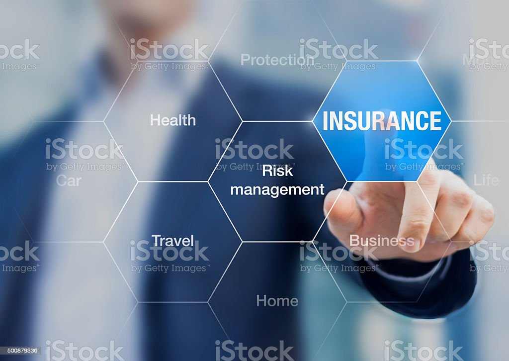 Consultant presenting insurance concept and risk management stock photo