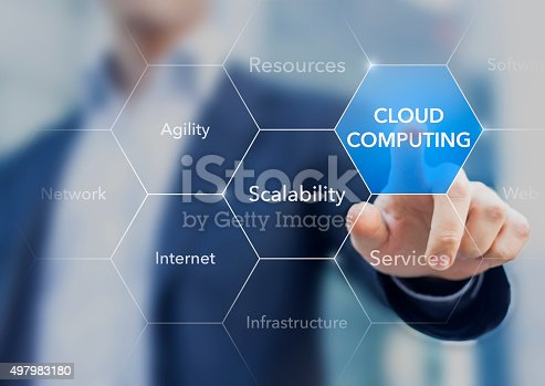 istock Consultant promoting cloud computing resources and services 497983180