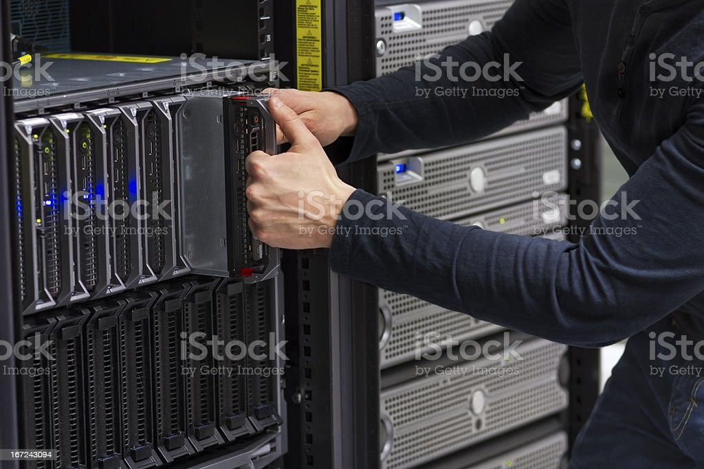 IT Consultant Replace Blade Server royalty-free stock photo
