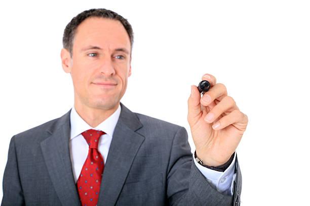 consultor mediante un marcador - gerente de cuentas fotografías e imágenes de stock