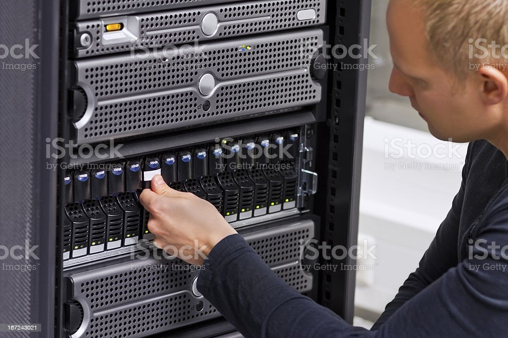 IT Consultant Working with SAN and Servers royalty-free stock photo