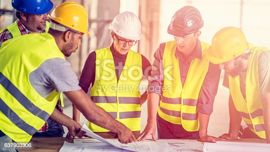 istock Consultation about blueprints 637903906