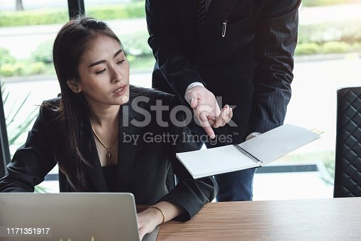 687687166 istock photo Consultation or Market data research concept, Adjustment of marketing strategies Female company owner discussing to a male market analyst To consult the company's marketing strategy. 1171351917