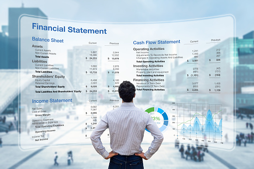 Consulting auditor analyzing Financial Report with Balance Sheet, Income Statement and Cash Flow information. Consultant auditing corporate finance and accounting. Business and operations management