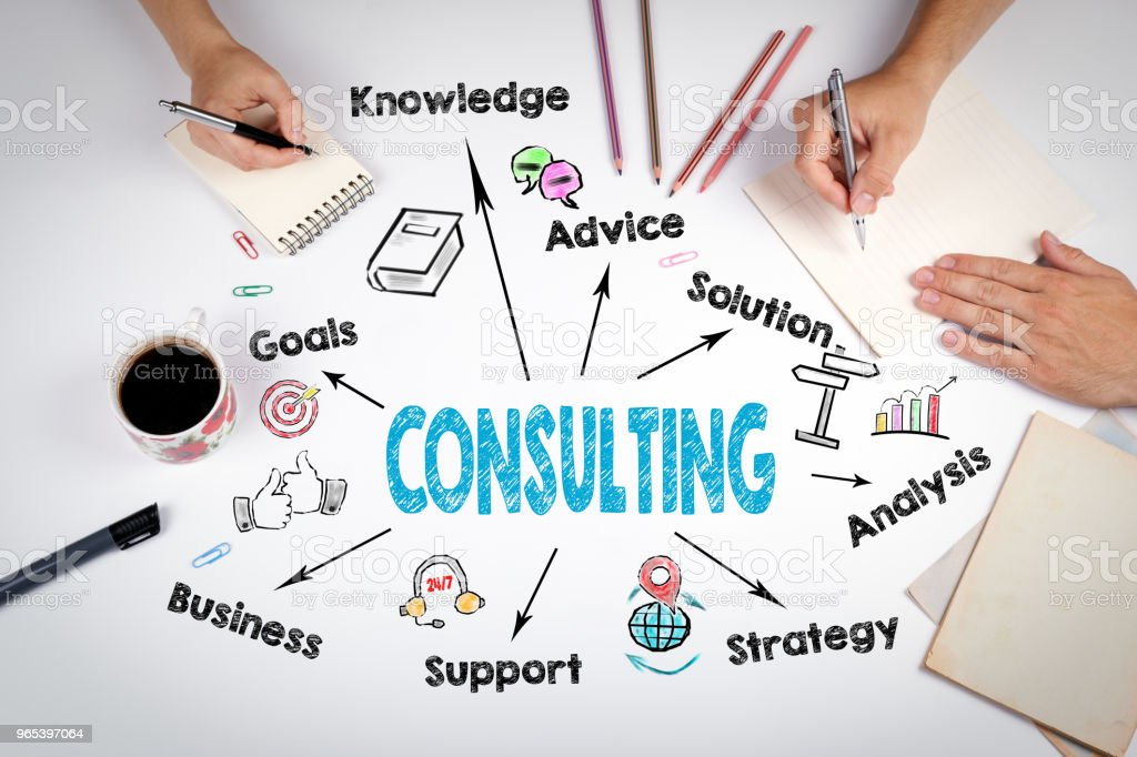 Consulting business concept. Chart with keywords and icons royalty-free stock photo