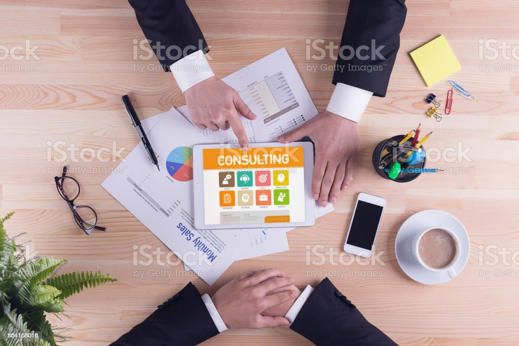 Consulting screen on the tablet pc royalty-free stock photo