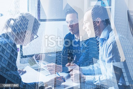 consulting startup coworking, business team meeting concept, group of people working on computer in modern office, double exposure