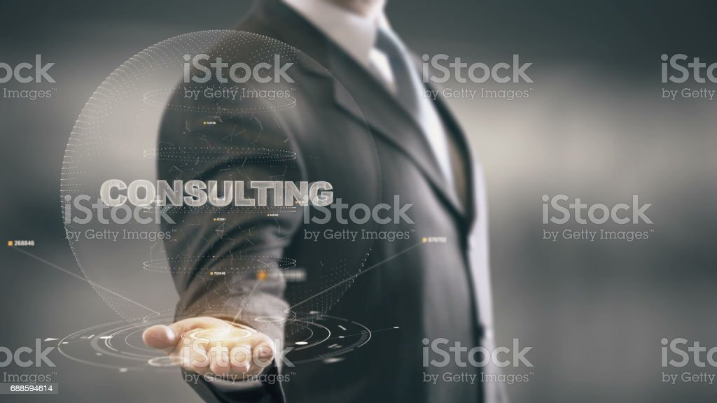 Consulting with hologram businessman concept stock photo