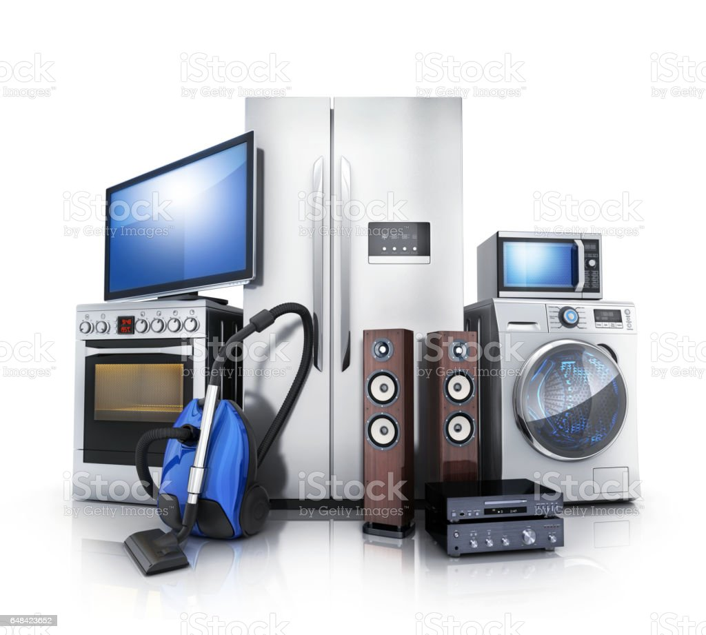 Consumer and home electronics vector art illustration