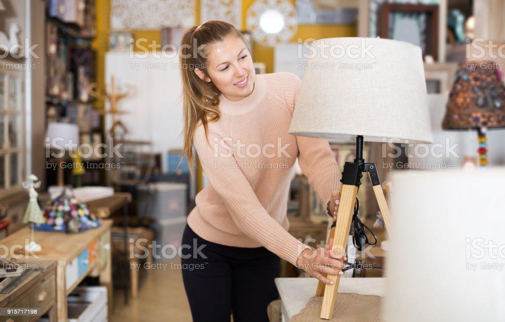 consumer choosing torchere stock photo