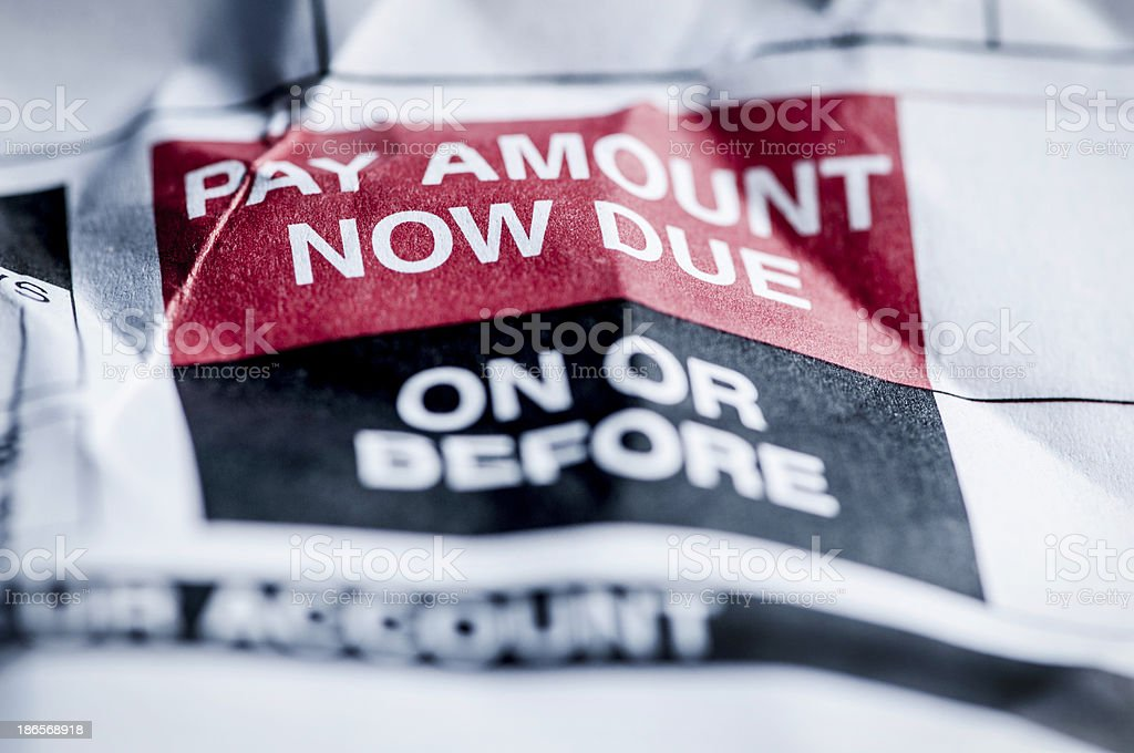 Consumer Credit Debt Payment Now Due stock photo