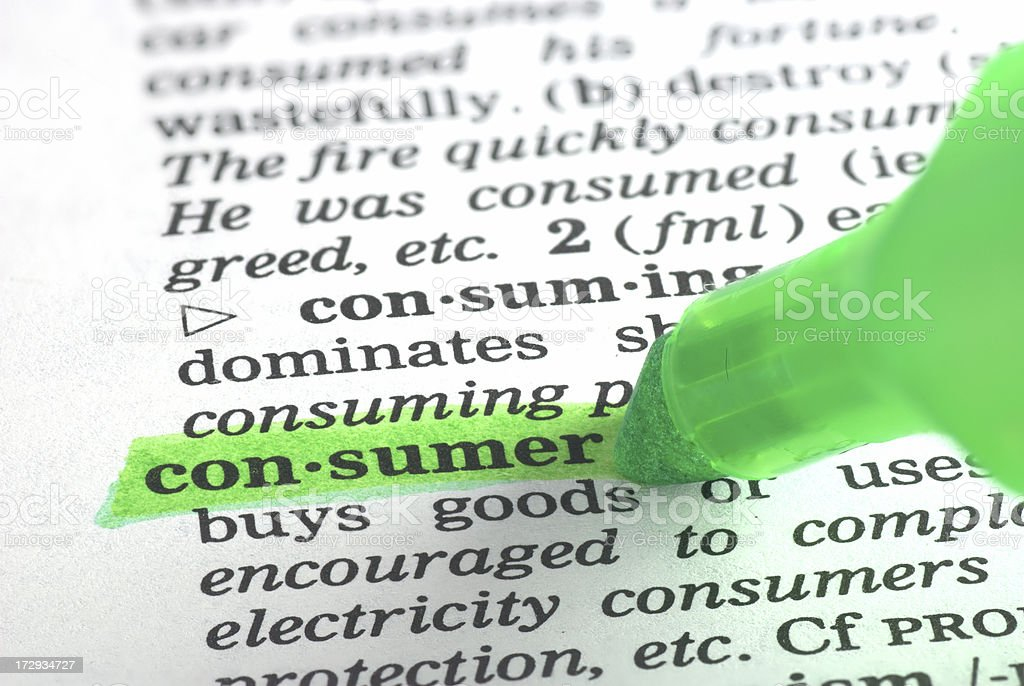 consumer definition highlighted in dictionary royalty-free stock photo