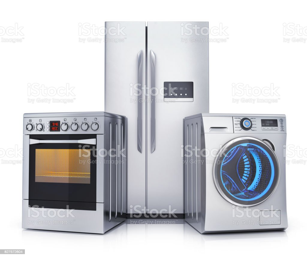 Consumer electronics stell, isolated stock photo