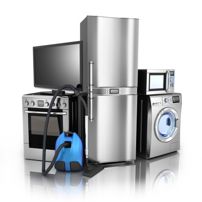 Consumer electronics.TV,Fridge,vacuum cleaner,microwave,washer and electric-cooker (done in 3d)